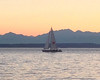 2013-07-24 - View of sailing sloop on Lake Elliot with Olympics in background, Seattle, WA, USA